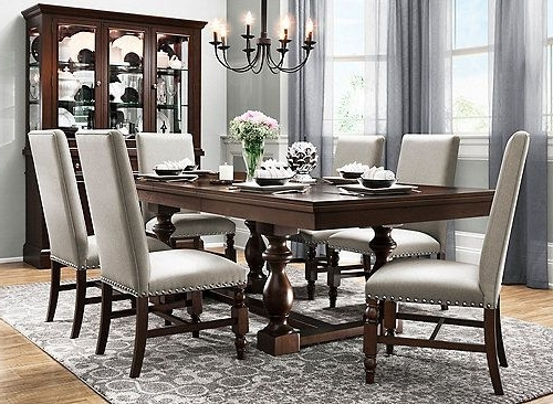 Dining Intended For Candice Ii 7 Piece Extension Rectangular Dining Sets With Uph Side Chairs (View 9 of 20)