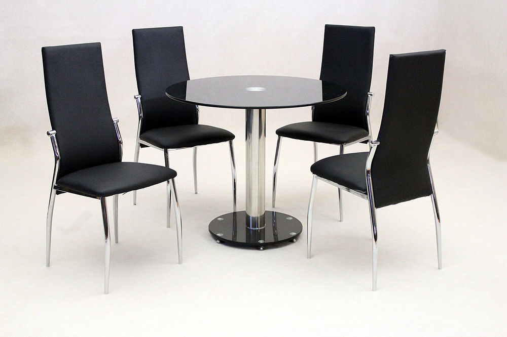 Dining Kitchen Table Set Black Glass Round Top Chrome Four Black Within Favorite Round Black Glass Dining Tables And Chairs (View 3 of 20)