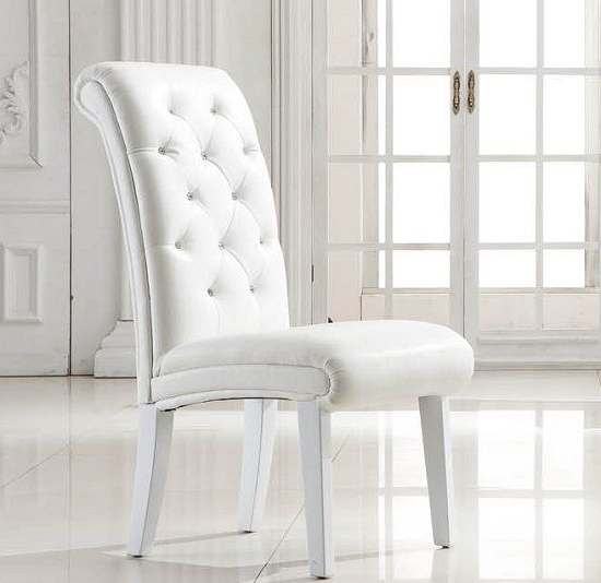Featured Photo of White Leather Dining Room Chairs