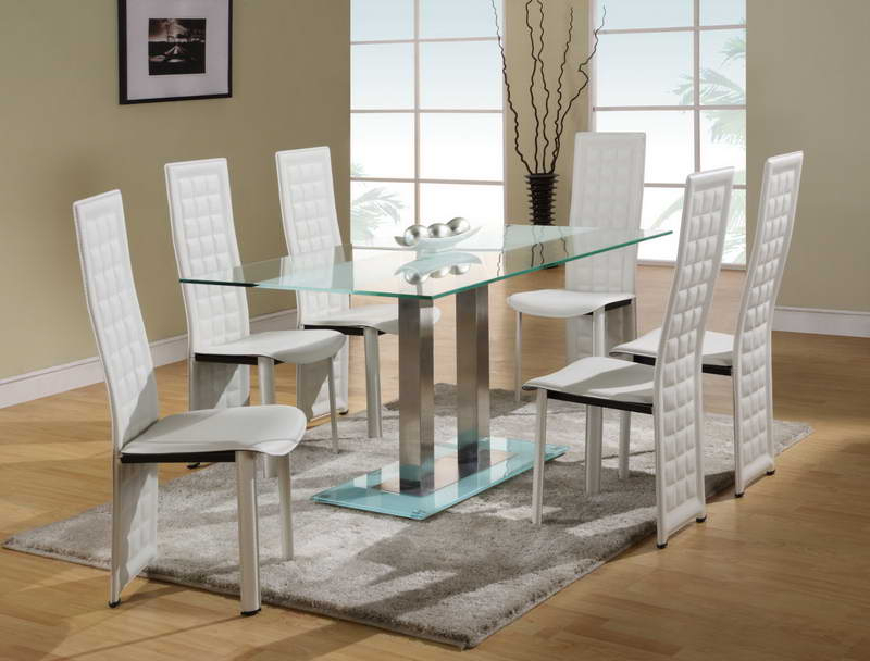 Dining Room: Best Glass Dining Room Sets Glass Top Dinette Sets In Trendy White Glass Dining Tables And Chairs (View 5 of 20)