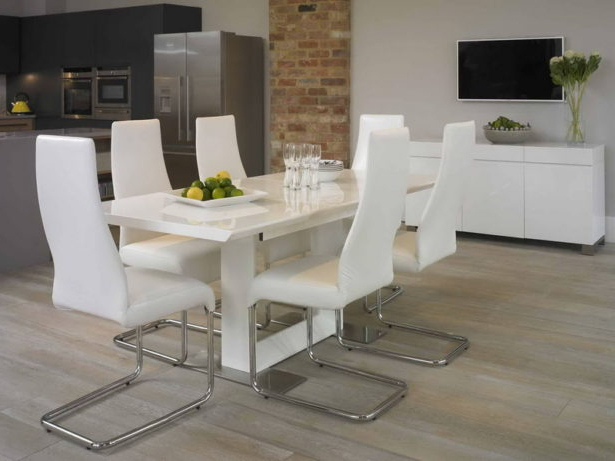 Dining Room Glass Kitchen Table And Chairs White And Grey Dining Set In Newest White Dining Suites (View 10 of 20)