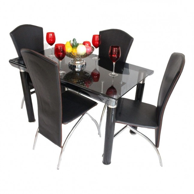 Dining Set Online, Dining Set Furniture Showroom In Ahmedabad In Fashionable Curved Glass Dining Tables (View 10 of 20)