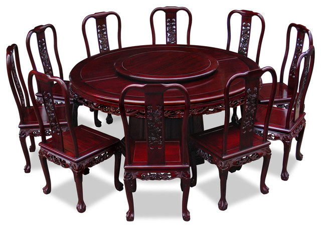 """Dining Table And 10 Chairs Intended For Famous 66"""" Rosewood Imperial Dragon Design Round Dining Table With (View 19 of 20)"""