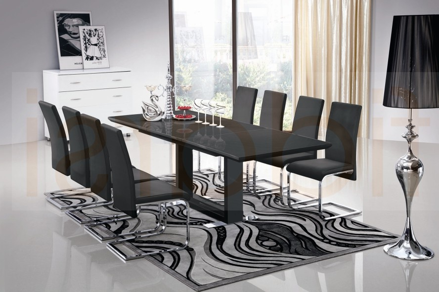 Dining Table And 10 Chairs Regarding 2017 10 Seater Glass Dining Table And Chairs Gallery Dining Grey Leather (View 5 of 20)