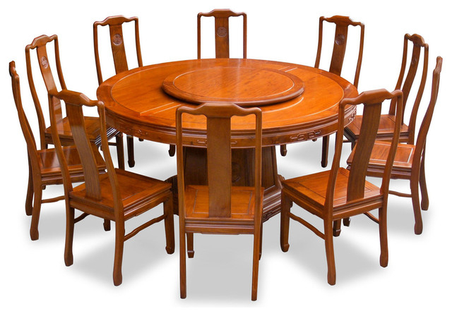 "Dining Table And 10 Chairs Within Fashionable 66"" Rosewood Longevity Design Round Dining Table With 10 Chairs (View 8 of 20)"