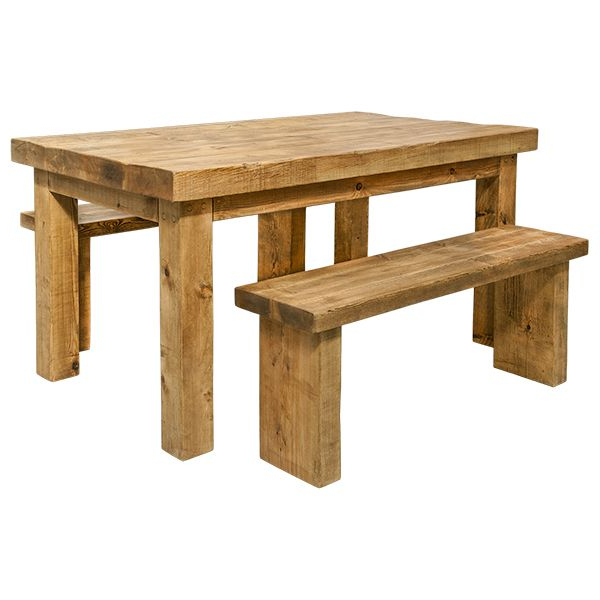 Dining Table And Benches – Rustic Wood (View 16 of 20)