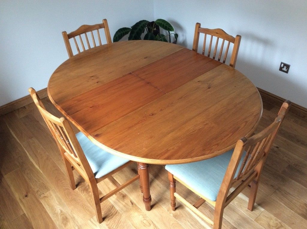 Dining Table And Chairs.pine Wood. Extending Round Table 114Cms Inside Well Liked Extended Round Dining Tables (Gallery 16 of 20)