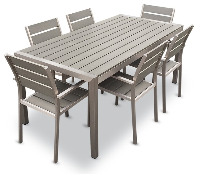 Dining Table Chair Sets Intended For Preferred Outdoor Aluminum Resin 7 Piece Dining Table And Chairs Set (View 5 of 20)
