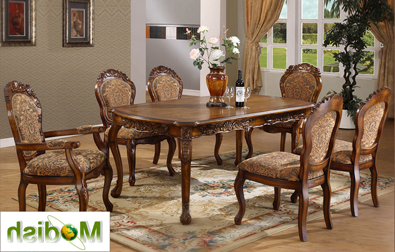 Dining Table Chair Sets Throughout 2017 7 Pc Luxury Solid Wood Carving Dining Table/chair Set Antique (View 7 of 20)