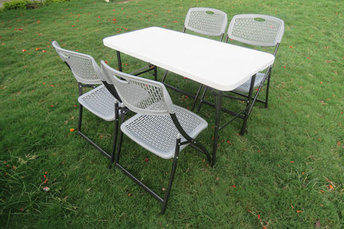 Dining Table Chairs Set – 120X60 Cm Table  Chair (Grey), Folding Within Most Popular Dining Tables 120X (View 5 of 20)