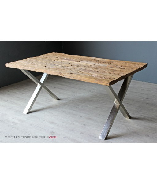 Dining Table Railway Sleeper Design Chrome Legs With Regard To 2017 Railway Dining Tables (View 5 of 20)