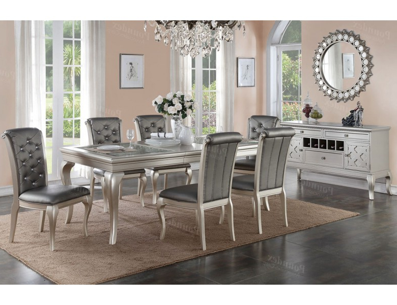 Dining Table Sets For Favorite Barzini Silver Finish Dining Room Table Set (View 5 of 20)