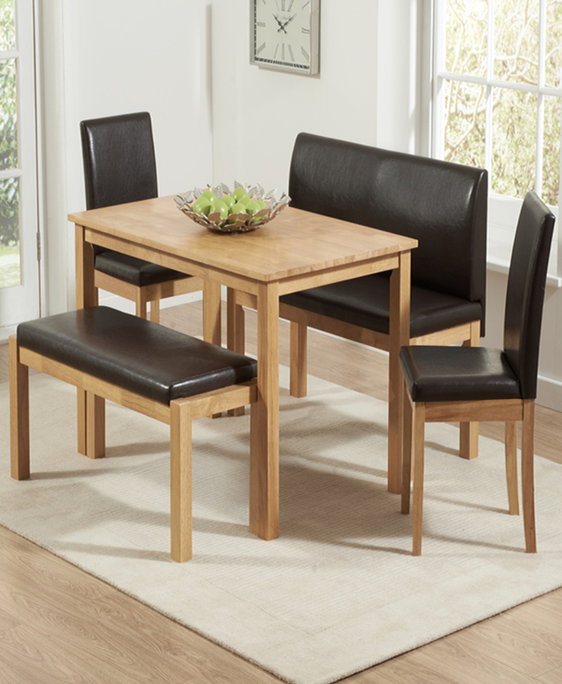 Dining Table With 2 Benches & 2 Chairs (View 3 of 20)