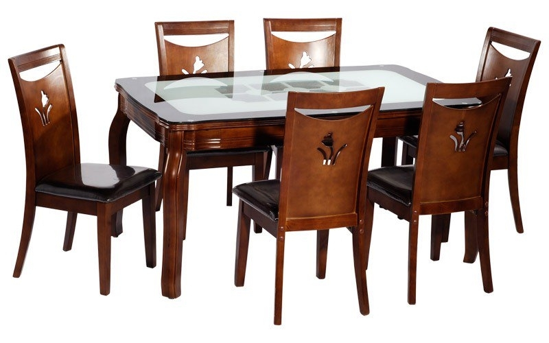 Dining Table (With 6 Chairs) Buy In Patna Inside Best And Newest 6 Seat Dining Tables (View 10 of 20)
