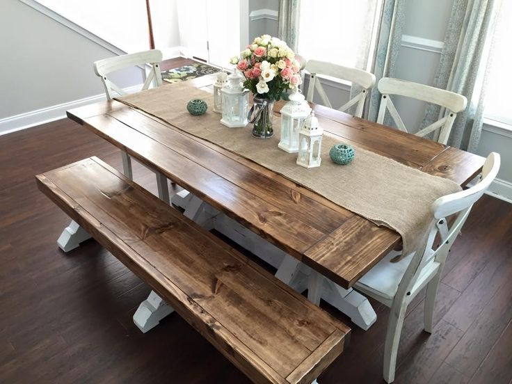 Dining Tables And 2 Benches For Most Up To Date Farmhouse Table & Bench (View 4 of 20)