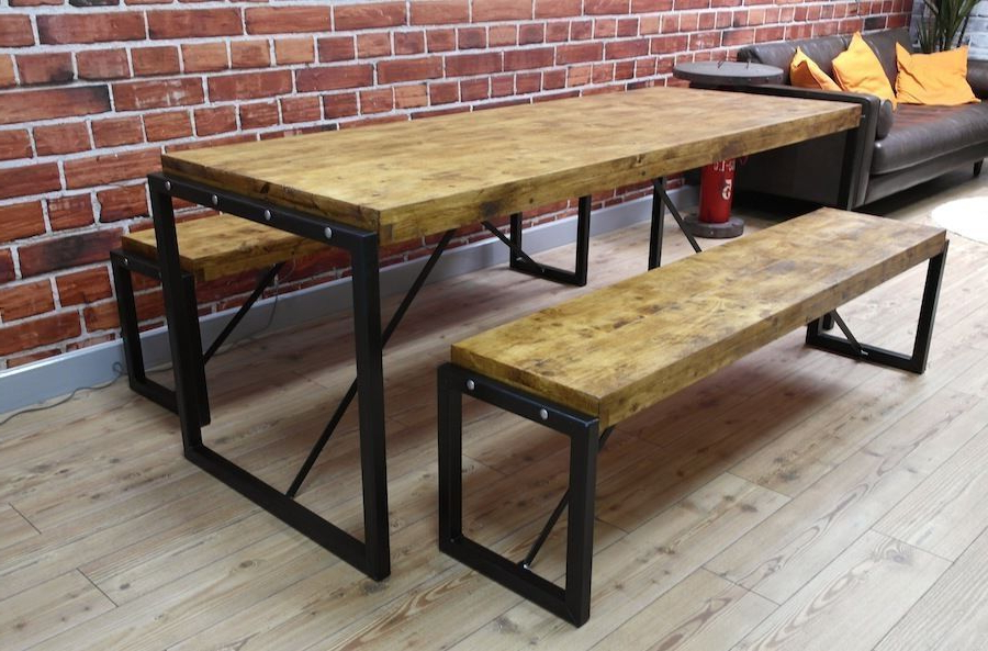 Dining Tables And 2 Benches Inside Popular 5Ft Industrial Reclaimed Wood Steel Metal Kitchen Dining Table  (View 6 of 20)
