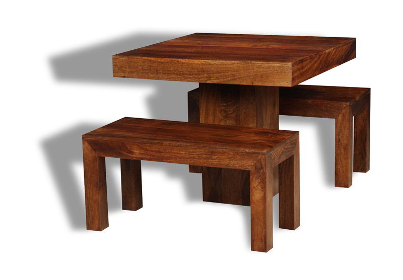 Dining Tables And 2 Benches Pertaining To 2018 Dining Room Dakota Dark 90Cm Cube Dining Table & 2 Small Benches (View 10 of 20)