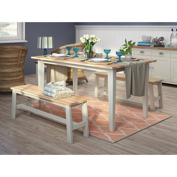 Dining Tables And 2 Benches Regarding Latest Breakwater Bay Beecher Falls Dining Set With 2 Benches & Reviews (View 11 of 20)
