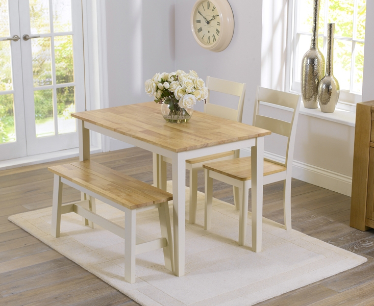 Dining Tables And 2 Chairs Pertaining To Well Known Widnes Oak And Cream 115Cm Dining Set With 2 Chairs And Bench (View 10 of 20)