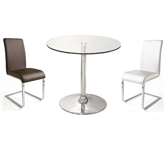 Dining Tables And 2 Chairs Within Current Dante Glass Bistro Table With 2 Lotte Dining Chairs (View 8 of 20)