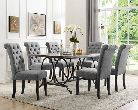Dining Tables And 6 Chairs Inside Favorite Brassex Inc Soho 7 Piece Dining Set, Table + 6 Chairs, Grey (Gallery 4 of 20)