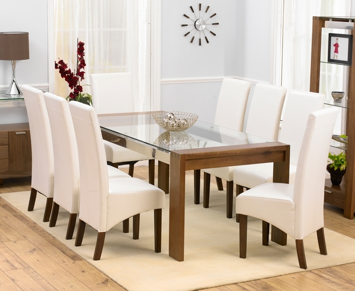Dining Tables And 8 Chairs Regarding Latest Glass Dining Room Table 8 Chairs Decor Ideas And Seat 10 Upholstery (View 11 of 20)