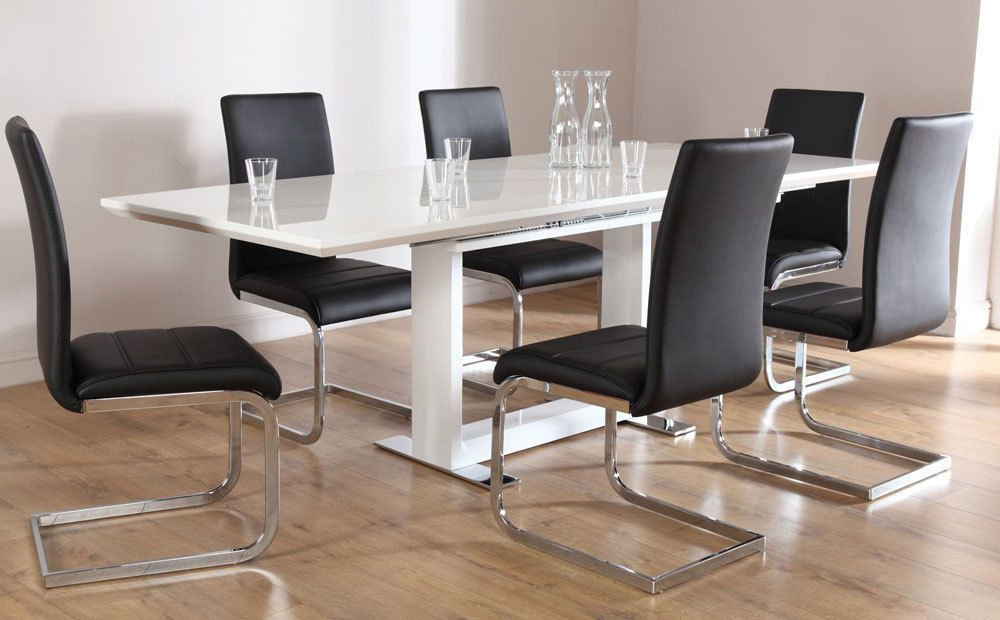 Dining Tables And 8 Chairs Sets Regarding Fashionable Tokyo & Perth Extending White High Gloss Dining Table & 4 6 8 Chairs (View 6 of 20)