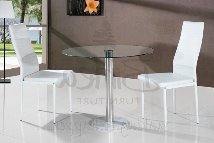 Dining Tables And Chairs For Two In Trendy Birlea Romford Glass Dining Table Set With Two Chairs – Whitebirlea (Gallery 19 of 20)