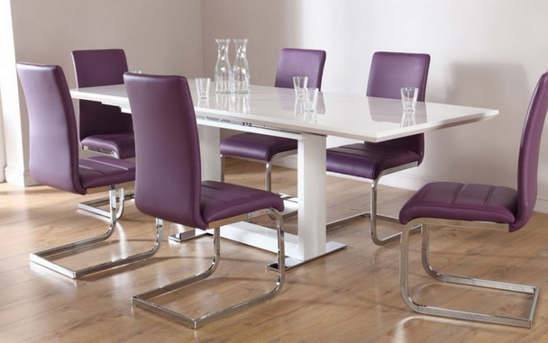 Dining Tables And Purple Chairs Inside Latest Clean Dining Room Using Laminated Wooden Flooring And Modern White (View 5 of 20)