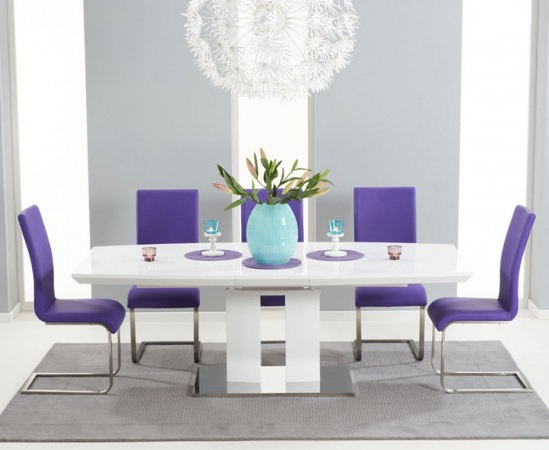 Dining Tables And Purple Chairs Regarding Most Recent Rossini 180cm High Gloss Extending Dining Table With 6 Malibu Purple (View 10 of 20)