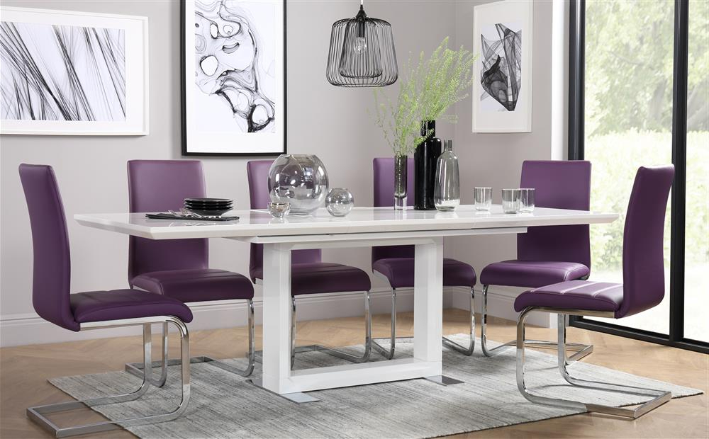 Dining Tables And Purple Chairs Throughout 2018 Tokyo White High Gloss Extending Dining Table And 8 Chairs Set (Gallery 1 of 20)