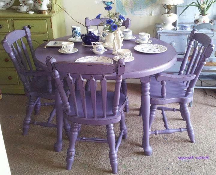 Dining Tables And Purple Chairs Within Well Liked Purple Antique Shabby Chic Mahogany Dining Table & Chairs (View 8 of 20)