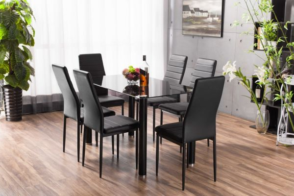 Dining Tables Black Glass Within 2018 Lunar Rectangle Glass Dining Table & 6 Chairs Set (View 8 of 20)