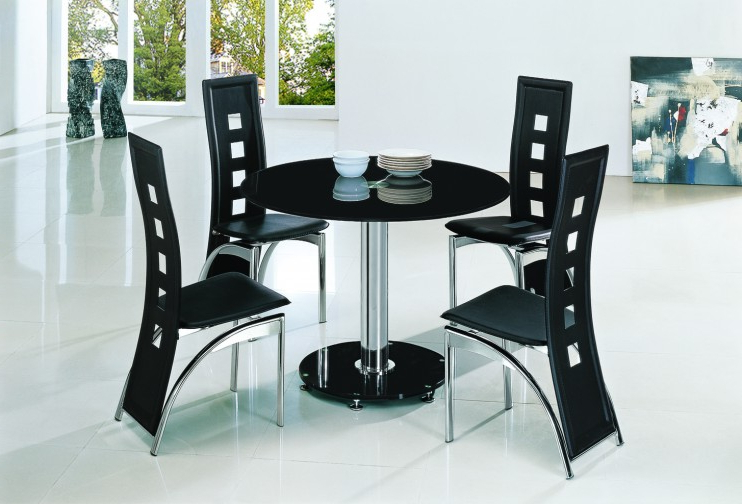 Dining Tables Black Glass Within Well Known Planet Black Round Glass Dining Table With Alison Chairs (View 9 of 20)