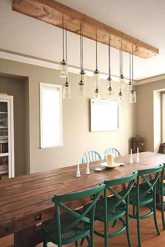 Dining Tables Ceiling Lights Inside Popular First Time Fancy Dining Room – Diy Dining Table & Light Fixture (View 5 of 20)