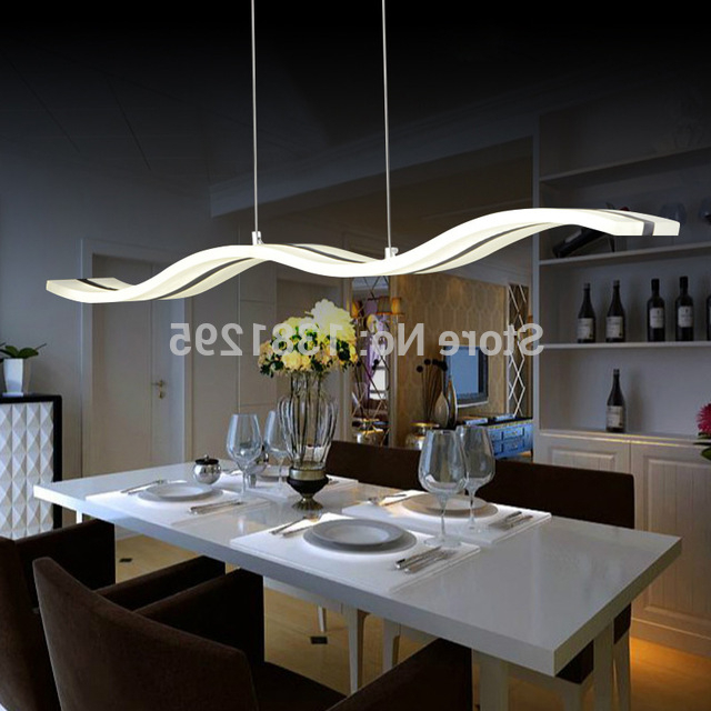 Dining Tables Ceiling Lights Intended For 2017 Led Pendant Lights Modern Design Kitchen Acrylic Suspension Hanging (View 3 of 20)
