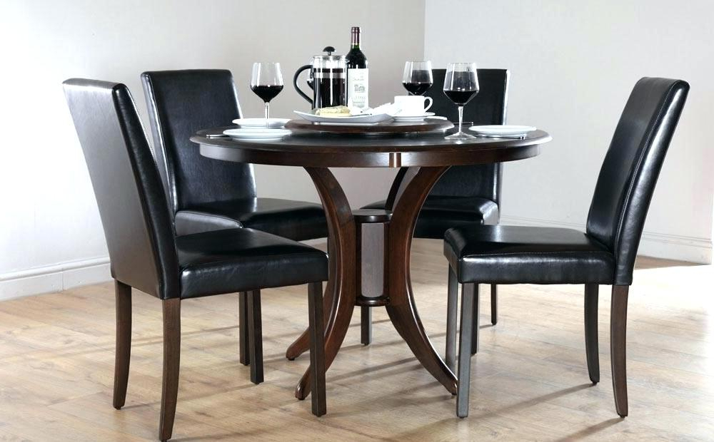 Dining Tables Dark Wood Throughout Famous Round Dining Table Set For 4 Round Black Dining Tables Dining Room (View 11 of 20)