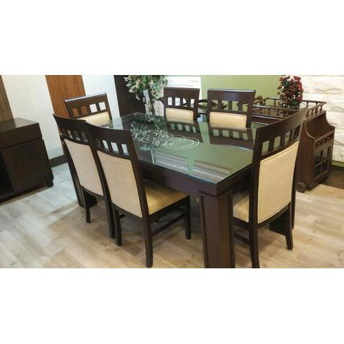 Dining Tables For Six In Newest Dining Table Hard Top With Glass Top And Six Chairs At Rs  (View 5 of 20)