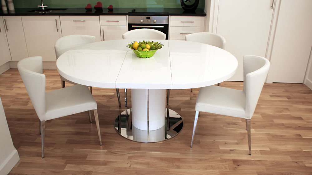 Dining Tables: Glamorous Round Dining Table Extends To Oval 8 Seater Throughout Fashionable Large White Round Dining Tables (View 4 of 20)
