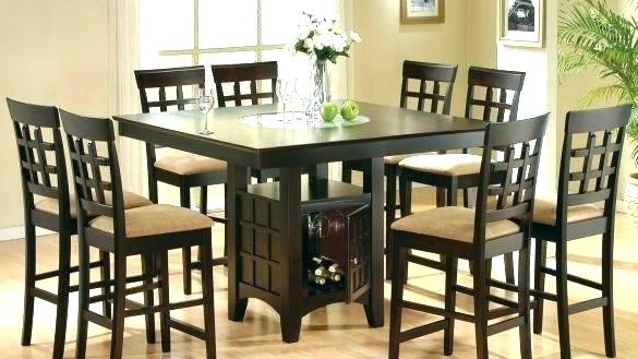 Dining Tables With 8 Chairs With Regard To 2018 Black Dining Table 8 Chairs Seater Dark Wood And Glass Set Modern (Gallery 15 of 20)