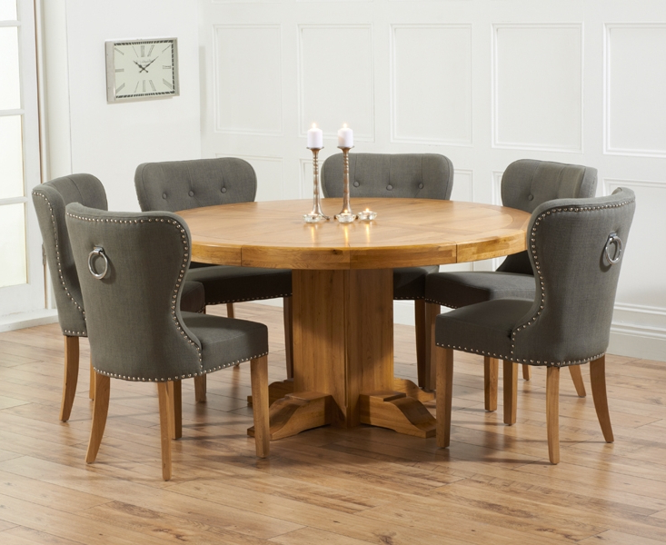 Dining Tables With Grey Chairs With Regard To 2017 Memphis Solid Oak 150Cm Round Pedestal Dining Set With 4 Vicenza (View 7 of 20)