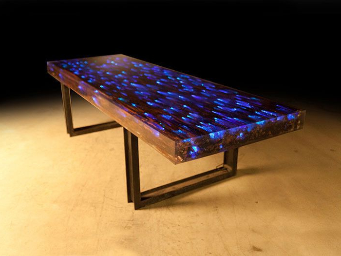 Dining Tables With Led Lights Intended For Current 10 Ft L Dining Table Desk Driftwood Resin Embedded Led Light In  (View 5 of 20)