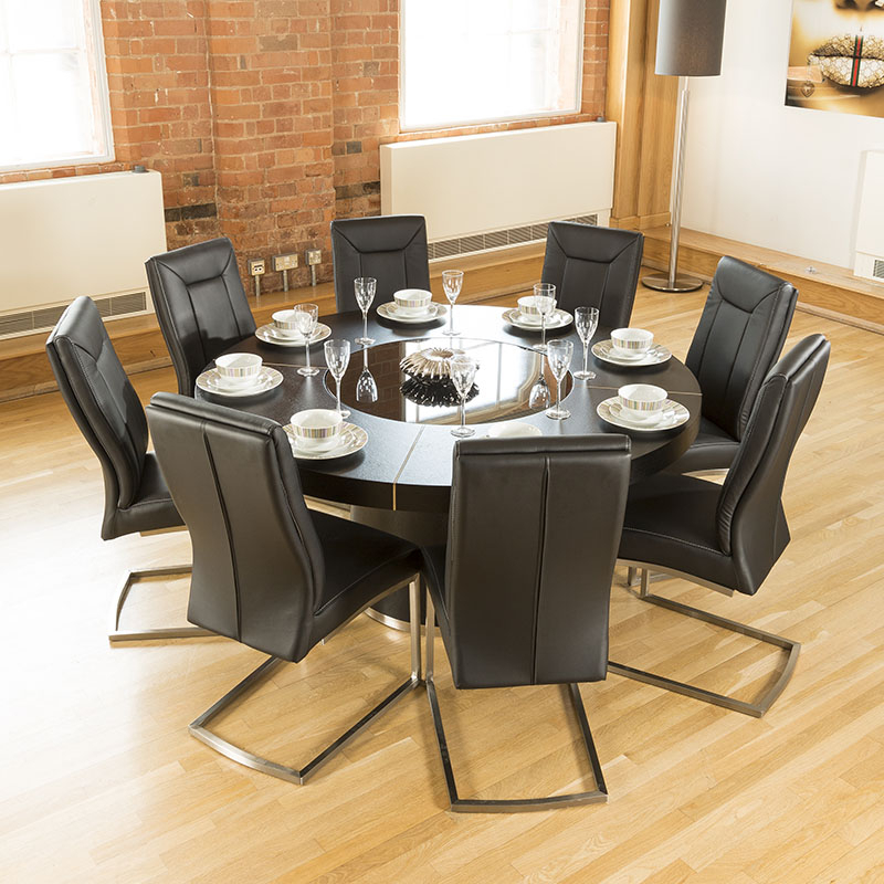 Dining Tables With Led Lights Throughout Well Known Large Round Black Oak Dining Table, Glass Lazy Susan, Led Lights  (View 7 of 20)