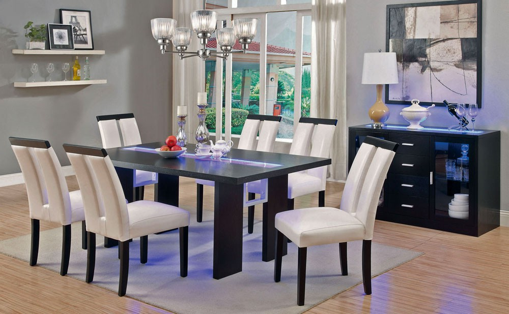 Dining Tables With Led Lights Within Favorite Kenneth Led Light Dining Table Set (View 8 of 20)