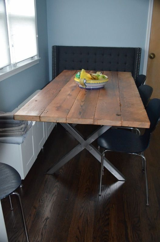 Dining Tables With Metal Legs Wood Top Inside Famous Bright Silver – X Metal Table Legs Set Diy Build Your Own Modern (View 14 of 20)