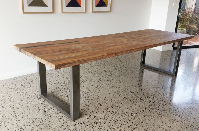 Dining Tables With Metal Legs Wood Top Regarding Recent Awesome Wood Dining Table With Metal Legs Remarkable Steel Legs For (View 7 of 20)