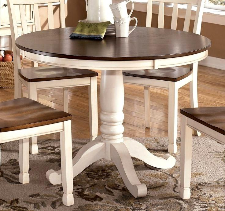 Dining Tables With White Legs And Wooden Top Within Recent Spectacular Dining Table White Brown Top Best Wood Pedestal Table (View 7 of 20)