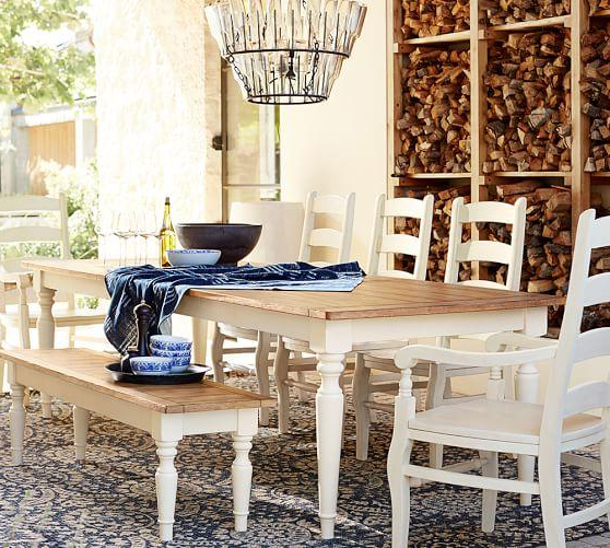 Dining Tables With White Legs In Most Up To Date White And Tan Pearson Extending Dining Table (View 4 of 20)