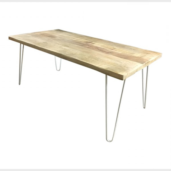 Dining Tables With White Legs Intended For Most Recent Hairpin Leg Dining Table In Timber With White Legs (View 5 of 20)