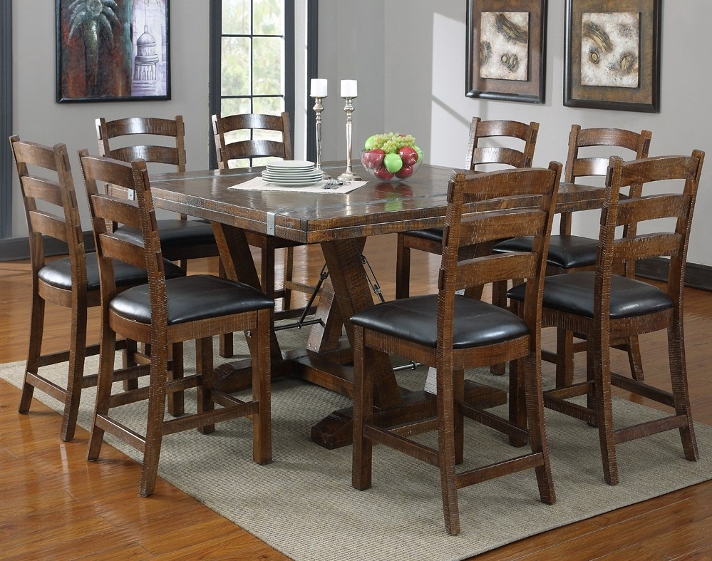 Distressed Square Dining Room Table Seats 8 For Rustic Dining Room Throughout Favorite Dining Tables Seats  (View 9 of 20)
